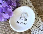 Simple Elegant Personalized Ring Dish - Engagement Ring or Wedding Ring and Jewelry Bowl with Initials and Date