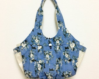 Fabric Shoulder Bag / Fabric Granny Bag / Cat Print bag --- Blue Rose and Black Cat - Blue
