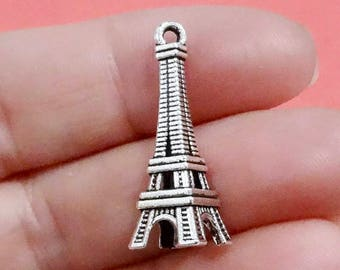 50 Bulk, Eiffel Tower Charms (3D) 28x10mm Hole: 1-1.5mm