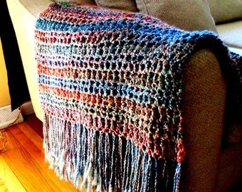 Throw Blanket, Rust, Blue, Gold, and Red Blanket, with Fringe, Afghan, Home Accent,  Home Decor, Interior design. MADE TO ORDER