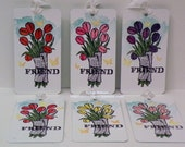 Gorgeous Tulip Tags..Beautiful Flower tags..Set 6 tags...watercolored tags...reverse side soft blue...blank...Work of Art background!