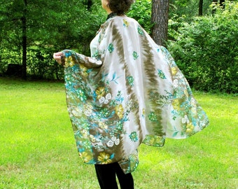 Border Print in Tan and Green Floral-- Free Flowing Ruana, Shawl, Cape or Beach Coverup--One Size Fits Most Summertime Gypsies