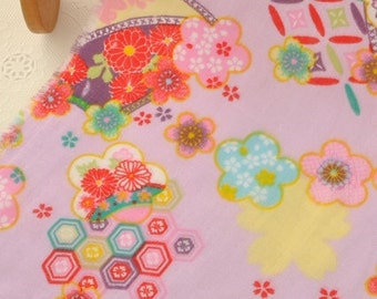 4445 - Japanese Floral Fan Double Gauze Cotton Fabric - 55 Inch (Width) x 1/2 Yard (Length)