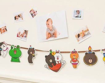 Easy DIY Paper Bunting, Party Flag, Home Decoration - Line Friends