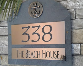 Nautical Home Address Plaque Boat Anchor House Numbers