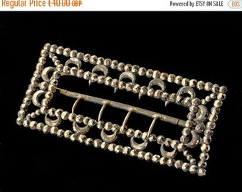 NOW  ON SALE Victorian Cut Steel Belt Buckle With Chape - Individual Riveted Studs & Crescents-Antique Cut Steel Buckle -Large