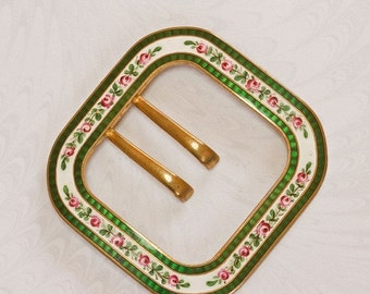 NOW  ON SALE Large Edwardian Square,Handpainted Enamel Floral Belt Buckle, Emaux Peints Pink Roses & Emerald Green Guilloche Border, Gift fo