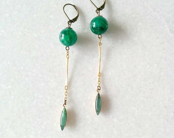 Kelly Green Earrings - Long Chain Earrings - Vintage Inspired Jewelry - Parker Earrings (SD1057)