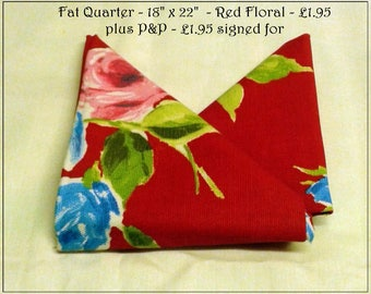 Fat Quarter Fabric - Floral cotton upholstery fabric by Prestigious Textiles - Design - Ella Floral