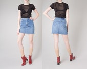 DENIM SKIRT jean skirt Lee vintage frayed hem cut Offs vintage women spring summer / 25.5 waist / size 2 / better Stay together