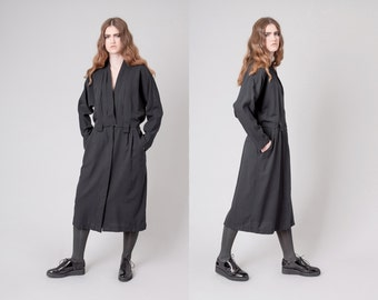 TRENCH dress BLACK maxi Long Sleeves vintage women Minimalist minimal 90s / Medium Large / better Stay together