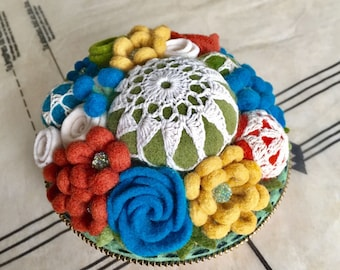 Felt flower and vintage doily pincushion