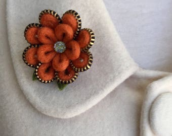 Felt  and brass zipper flower brooch