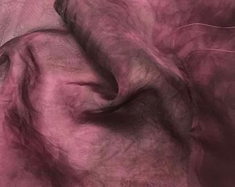 Hand Dyed MAUVE Silk Organza Fabric - 1 Yard