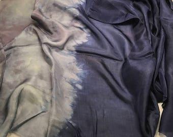 OMBRE Hand Dyed Silk HABOTAI Fabric Midnight Blue to Gray 1/2 Yard