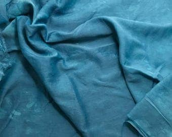 Hand Dyed TEAL BLUE Silk and Cotton Batiste Fabric - 1 Yard