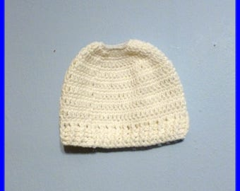 Clearance Sale Messy Bun Hat Ponytail Hat Beanie Top Opening White