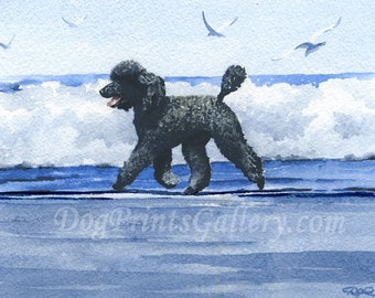 """Standard Black Poodle Art Print """"Black Poodle At The Beach"""" Signed by Watercolor Artist DJ Rogers"""