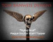 Flying Skull Plague Doctor Staff Topper
