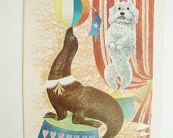 vintage poster dancing poodle dog circus seal 1958 penn prints leonard weisgard art print children art