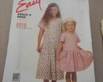 Vintage McCall's  Girls Stitch n Save Dress Pattern #8019 Uncut, sizes 3 thru 6