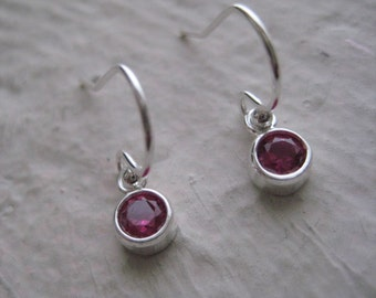 Little Ruby CZ Earrings- Sterling Silver, Dangle, Earwires, Gift, Simple, Everyday, Cubic Zirconia, Red