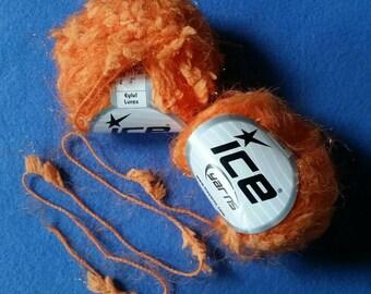 Two Skeins Eyelul Lurex Eyelash Yarn by Ice Yarns, bright orange novelty glitter yarn with soft puffs