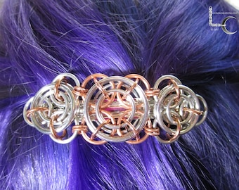 Chainmaille Barrette - Axis of Awesome Chainmaille Barrette in Copper and Aluminum, chainmail hair clip, chainmaille Accessories