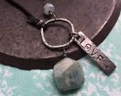 aquamarine manifestation stone necklace.  love