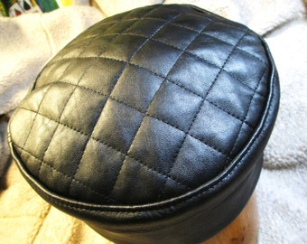 Black Leather  Kufi Hat w/ Quilted Top