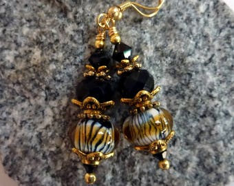 Tiger Stripes and Black  Earrings, Handmade Lampwork Beads, Gold Plated Earwires, Wild About You, Animal Print