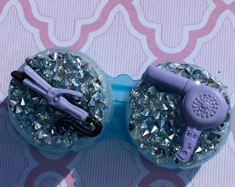 BlowDryer Purple Curling Iron BlowDry Hairstylist Salon Custom Contact Lens Case Holder Eye Lenses Plastic Kawaii Burlesque