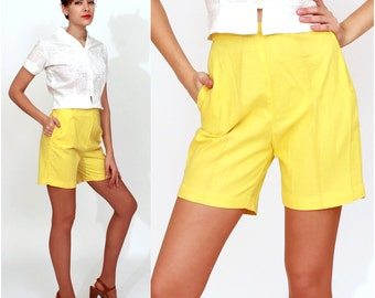 Vintage 50's/60's Bright Yellow High-Waisted Long Shorts with Pockets by Carol Brent   XS/Small
