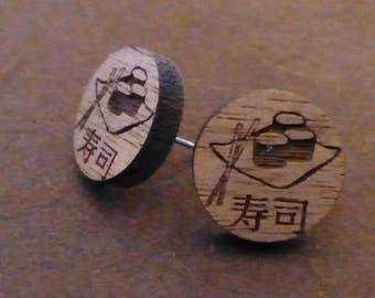 Sushi Roll Wooden Earrings