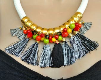 Black White Tassel Necklace Tassel Jewelry Red Orange Yellow Green Chunky Necklace Bohemian Necklace Tribal Necklace Trendy TROPICAL