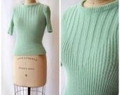 1950s Mint Julep Poorboy | Vintage 50s Sweater Bobbie Brooks Mint Green Rib Knit Pullover Short Sleeves Orlon Acrylic Varied Rib Design