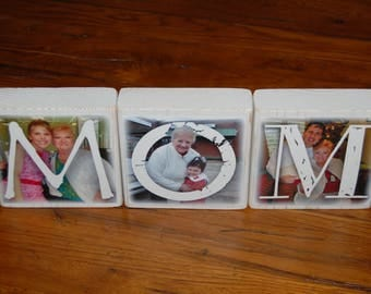 Personalized LARGER Photo Blocks- set of 3- MoM DAD PoP