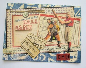 Vintage sports theme Father's Day card - Baseball Father's Day card - Handmade card