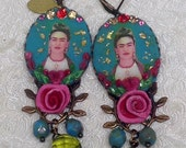 RESERVED Lilygrace Frida Kahlo Cameo Earrings in Duckegg, Scarlet, Pink and Green with Hearts and Vintage Rhinestones
