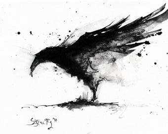 Crow painting - Ink on 8x12in canvas, A4, 20x30cm - abstract flying crow 4
