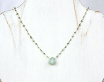 Blue Peruvian Opal Necklace with Peridot - Sterling Silver