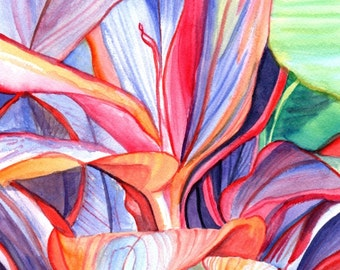Original Watercolors, Ti Leaves Paintings,  Tropical Flower Paintings, Kauai Fine Art, Hawaiian Original Wall Decor, Hawaii, Colorful Leaves
