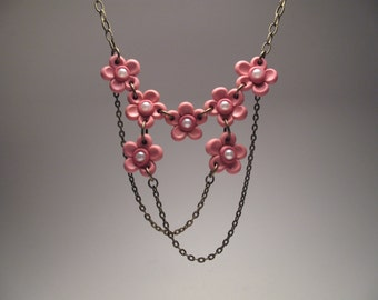 Cherry Blossom Flower Necklace - Polymer Clay Jewelry - Flower Choker