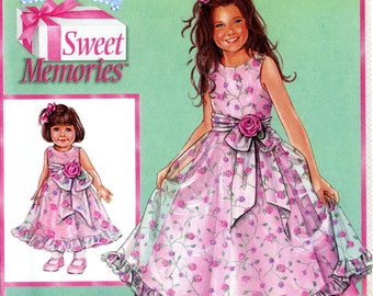 """Simplicity 4620 Daisy Kingdom Childs Girls and 18"""" Doll Party Dress Size 7 8 10 12 14 Uncut Sewing Pattern 2004"""
