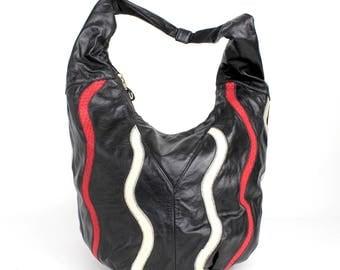 Vintage 1980s Leather Hobo Bag | Oversized Leather Shoulder Bag | XL Tricolor Leather Handbag