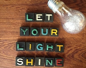 Holiday Sale LET YOUR LIGHT Shine Vintage Wood Anagram Game Pieces, Vintage Scrabble Tiles, Retro Decor, Gifts under 25, Vintage Holiday Dec