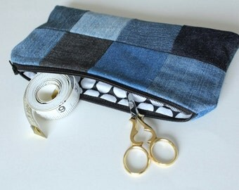 Patchwork Zipper Pouch, Upcycled Denim, Large Dot