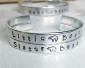 Little Bear and Sister Bear hand stamped cuff bracelets