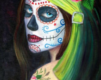 Day of the Dead Tattoo Rose lime green small print 8.5 x 11