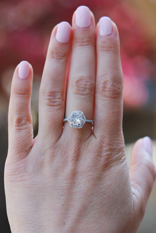 Hexagon Engagement Ring White Sapphire Ring 14k White Gold 1 7ct